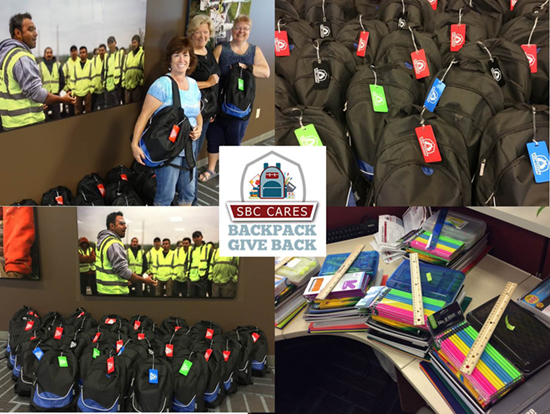 2017 SBC Backpacks donations collage