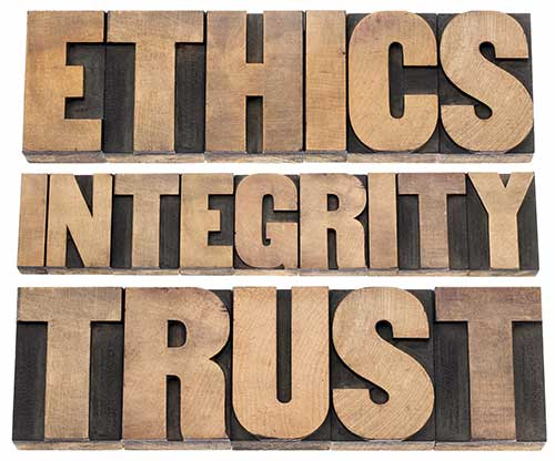 ethics integrity trust word graphic